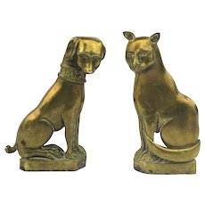 Pair of Solid Brass 19th Century Andirons Cat and Dog Figures