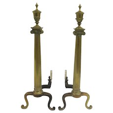 Pair of 19th Century Brass Andirons with Corinthian Column and Urn Finial