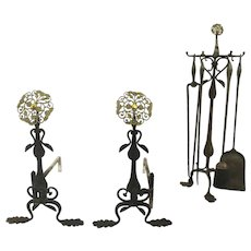 Brass Pierced Filagree & Iron 17th Century Style Andirons Matching Tools & Stand