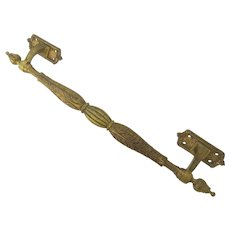 Bronze Gilt Pull Handle with Acanthus Leaves Motif and Finials.