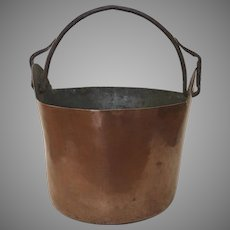 Hand Made Copper Bucket Pail Planter Wrought Iron Handle Rustic Farmhouse Country