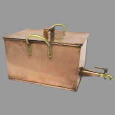 Copper Container Large Brass Spigot & Handles 19th Century