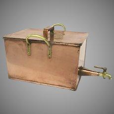 Copper Container Large Brass Spigot & Handles 19th Century
