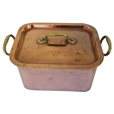 Vintage Large French Copper Three Piece Poacher Culinary Country Kitchen