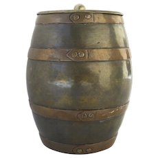 Humidor Copper and Brass, English 19th C, Tin-Lined, Barrel-Shaped