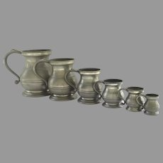19th Century English Set of Six Graduated Pewter Measures