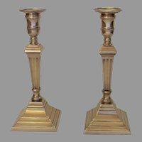 Pair of 18th English Georgian Century Bell Metal Tall Column Candlesticks