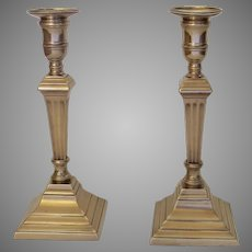 Pair of 18th English Georgian Century Bell Metal Tall Column Candlesticks