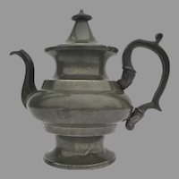 Pewter Teapot Hinged Lid 19th Century