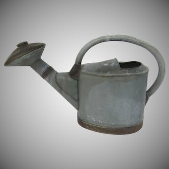 """Early 19th Century French Watering Can Zinc and Copper, """"A G Depose"""""""