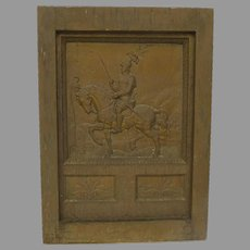 19th Century Fireplace Back Plate Cast Iron Horse & Rider