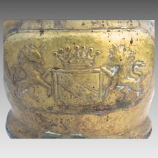 19th Century English Brass Jardiniere  with Coat of Arms The Lion stands for England and the Unicorn for Scotland.