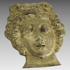19th Century Brass Ormolu Furniture Mount Decoration Woman's Face Roman Greek
