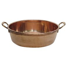 English Very Large Copper Cream Preserves Pan Pot by Benham & Froud Retailed by Harrods London