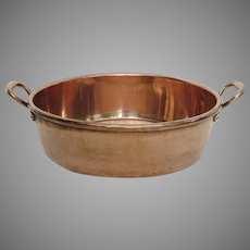 English Large Copper Cream Preserves Pan Pot by Benham & Froud Retailed by Harrods London