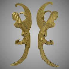 19th Century Ormolu Gilt Dore Mounts Woman Faces Wings Angels