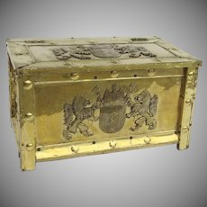 1900's Large Brass Fireplace Log Tinder Box Coat of Arms Lions