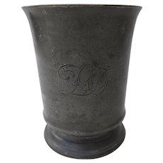 19th Century English Large Pewter Tankard Mug Engraved Pint