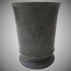 19th Century English Large Pewter Tankard Mug Engraved Pint