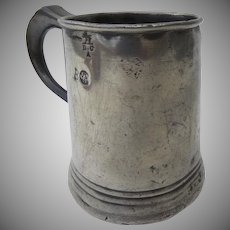 Nice English Pewter Small Tankard Mug Touchmarks