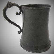 Nice Shaped 19th Century Pewter Tankard Mug Glass Bottom