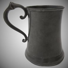 Nice Shaped 19th Century Pewter Tankard Mug Glass Bottom