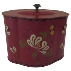 Vintage Tole Red Painted Tea Caddy Decorative Artist Signed