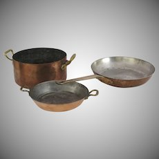 Three (3) Vintage French Made in France Copper Pans  METAUX OUVRES VESOUL Art et Cuisine