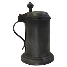 Large Pewter Lidded Tankard Touch Mark c 1800