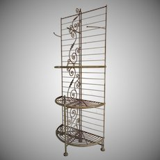 French 19th Century Half Round Demi Lune Baker's Rack Small