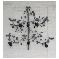 Mid Century Garden Iron Wall Candle Sconce Large Tree with Birds