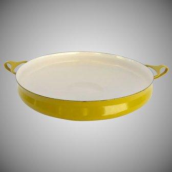 Mid-Century Dansk Large Yellow Enamel Kobenstyle Paella Pan Large