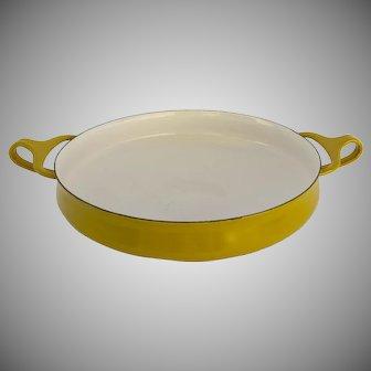 Mid-Century Dansk Yellow Enamel Kobenstyle Paella Pan Small