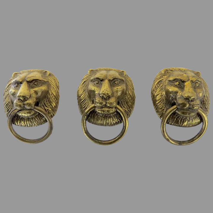 Set Of Three Brass Lion Head Drawer Pulls Door Knocker Black