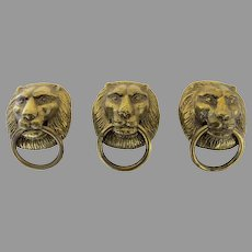 Set of Three Brass Lion Head Drawer Pulls Door Knocker