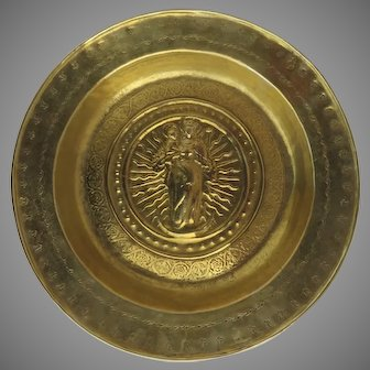 Early Brass Alms Dish Bowl