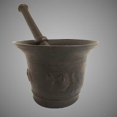 1700's Bronze Mortar and Pestle Faces