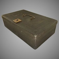 Vintage Metal Strong Safety Deposit Document Box Dull Green
