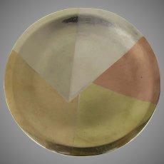 Geometric Mixed Metal Small Dish Tray Los Castillo Taxco Mexico, 1950