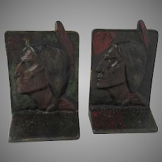 Vintage 1920's Painted Cast Iron Bookends Marked Z R Native American Indian Single Feather