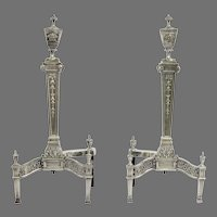 19th Century Pair of Silver Plated Andirons and Fireplace Tools Bell Flower and Rams Head