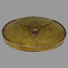 Beautifully Constructed Hand Made Brass Oval Lid 19th Century Re-purpose