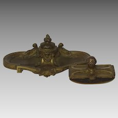 Bronze Gilt Louis XVI Style Desk Blotter and Inkstand Inkwell by O. Lelievre c 1900 Women's Mask Face