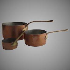 Group of Three Graduated Pans Pots Copper by Bazar Francais 666