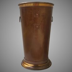 Vintage Tall Copper Finish Trash Can Waste Basket