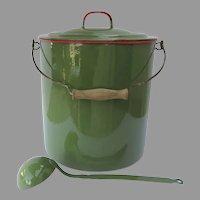 Vintage Large Czechoslovakia Enamel Enamelware Bucket Pail Ladle Green
