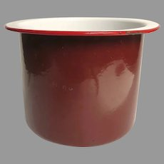 Vintage European Czech Enamel Planter Pot Pail Brick Red Utensil Holder Country Kitchen