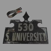 Vintage Large Metal Painted House Number Sign Bracket