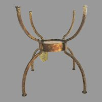 Vintage Casa Bique Hand Forge Iron Plant Stand with Amber Glass