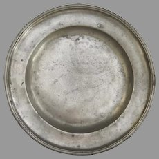 19th Century Block Tin German Pewter Plate with Angel & Scale Touchmarks